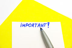 Important note!. Important note with a marker on it royalty free stock photography