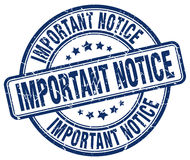important notice blue grunge round rubber stamp Stock Image