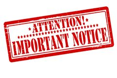 Important notice. Rubber stamps with text important notice inside,  illustration Royalty Free Stock Image