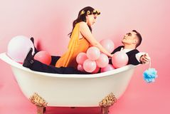 Important part of life. Bubble bath day. Beauty routine and personal hygiene. Hair grooming routine. Bathing hygiene. Habit. Couple in love in bath tub. Couple royalty free stock photo