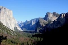 Important peaks from Tunnel View, Yosemite National Park, California, Royalty Free Stock Image