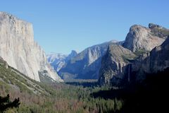 Important peaks from Tunnel View, Yosemite National Park, California, Stock Image