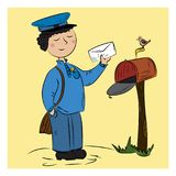 Important postman color vector illustration on a yellow background.  Stock Photos