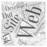Important Questions To Ask Web Developers Before Dishing Out the Dough word cloud concept. 10 Important Questions To Ask Web Developers Before Dishing Out the Stock Illustration
