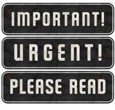 Important Stamp Urgent Please Read Signs Set Grunge. Street vintage metal embossed business messages stock illustration