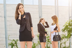 Important and successful businesswomen discussion Royalty Free Stock Photos