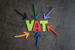 Importante do ICM, do imposto na compra e do negócio da venda, setas coloridas Imagem de Stock