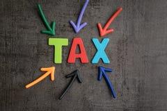 Importante do imposto no negócio da contabilidade, pointin colorido das setas Fotos de Stock Royalty Free