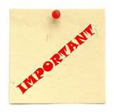 IMPORTANTE escrita aviso Imagen de archivo libre de regalías