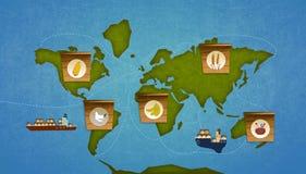 Importazione dell'alimento su terra Immagine Stock