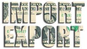 Importazione ed esportazione Struttura del dollaro americano Fotografie Stock Libere da Diritti