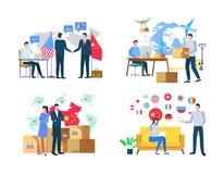Importazione o esportazione, consegna delle merci, vettore del mondo illustrazione vettoriale