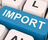 Importazione o importazioni di mezzi di chiave dell'importazione fotografie stock