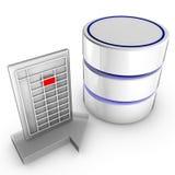 Importe los datos en una base de datos Foto de archivo