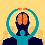 Importe-se a ideia do cérebro - ilustração na cabeça humana Foto de Stock