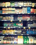 Imported beers at Whole Foods store Stock Photo