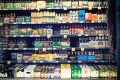 Imported beers at Whole Foods store Royalty Free Stock Photos