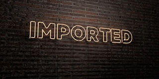 IMPORTED -Realistic Neon Sign on Brick Wall background - 3D rendered royalty free stock image Royalty Free Stock Photography
