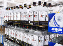 Imported Vodkas Stack Up on Shelves Stock Images