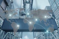 Importen exporten, logistikbegrepp - kartlägga den globala partnerconnectioen royaltyfria bilder