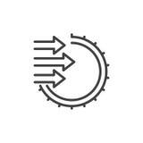 Importera linjen symbolen, översiktsvektortecknet, den linjära stilpictogramen som isoleras på vit Arkivbild