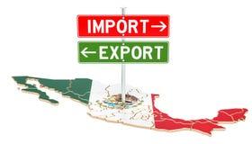 Importi ed esportazione nel concetto del Messico, la rappresentazione 3D royalty illustrazione gratis