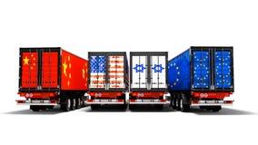 Importieren Sie und Export von Waren durch Behälter auf Anhängern des coun lizenzfreie abbildung