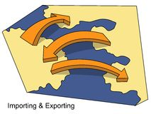 Importing and Exporting. Image illustrates the commercial activity of exporting which is selling and shipping goods to foreign countries and importing which is Stock Illustration
