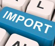 Importowy klucz Znaczy Importować Lub importy zdjęcia stock