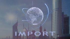 Importowy tekst z 3d hologramem planety ziemia przeciw t?u nowo?ytna metropolia ilustracja wektor