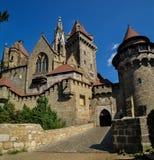 Beautiful medieval Kreuzenstein castle Near Vienna. The imposant round castle Tower of Fortress Kreuzenstein stock photography