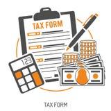 Imposez le calcul, paiement, comptabilité, concept d'écritures Images libres de droits