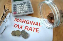 Imposición fiscal marginal Imagen de archivo libre de regalías