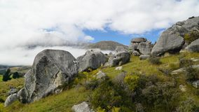 Imposing array of limestone boulders in Castle hill, New Zealand stock photo