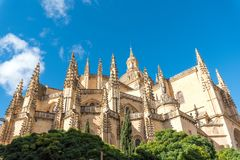 The imposing cathedral of Segovia Stock Image