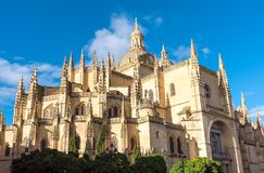 The imposing cathedral of Segovia. In Spain Stock Photos