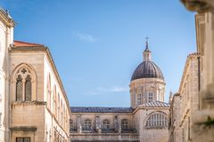 Imposing Church tower dome in Dubrovnik. Imposing Church tower dome in the Dubrovnik Old Town, Croatia Stock Photos