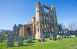The imposing east front of Elgin Cathedral. The imposing east front of Elgin Cathedral with the chapter house beyond Stock Image