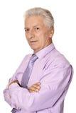 Imposing elderly man in shirt Royalty Free Stock Photos