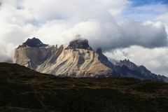 The imposing granite towers known as the Cuernos Del Paine, Torres Del Paine National Park, Patagonia. The back of the imposing granite towers known as the Stock Photo