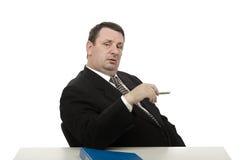 Imposing interviewer looking at camera Royalty Free Stock Photo
