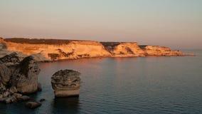 Imposing limestone cliffs. Near medieval city Bonifacio stock images