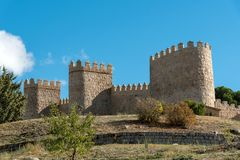 The imposing medieval city wall of Avila. In Spain Royalty Free Stock Photos