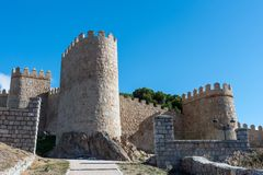 The imposing medieval city wall of Avila. In Spain Royalty Free Stock Photo
