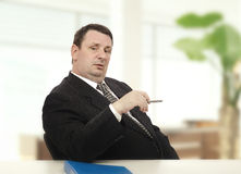 Imposing recruiter beginning stress interview Stock Image