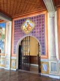 Icon Mural, Mega Spilaio Monastery, Kalavryta, Greece. Imposing religious icon mural, Mega Spilaio Greek Orthodox monastery, Kalavryta, Peloponnese mountains stock images
