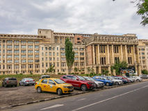Imposing romanian academy columns ruins from bucharest Stock Photography