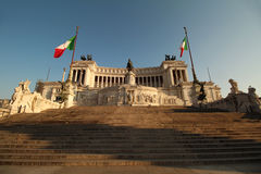 Imposing Rome war memorial. A gigantic building that screams power. It is called Vittorio Emanuele II monument and it was built in honor of the first world war Royalty Free Stock Photos