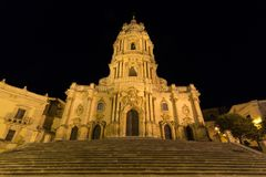 The imposing Saint George Cathedral - Duomo San Giorgio. In Modica, Sicily, Italy Royalty Free Stock Photos