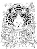 Imposing tiger adult coloring page Stock Image